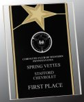 Black/Gold Standing Star Acrylic Recognition Plaque Sales Awards